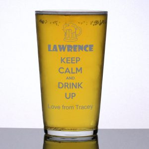 Personalised Pint Glass Keep Calm and Drink Up