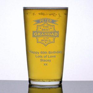 Personalised Pint Glass Best Grandad