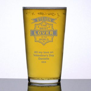 Personalised Pint Glass Best Lover