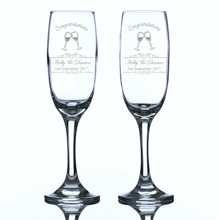 Congratulations Personalised Champagne Flutes Engrave