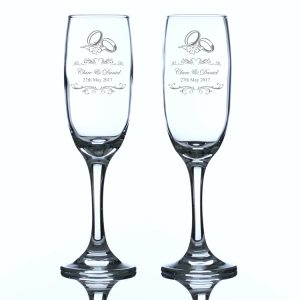 Personalised Wedding Rings Champagne Flutes