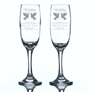 Personalised Wedding Champagne Flutes Heart and Doves