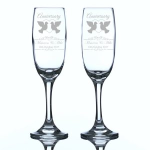 Personalised Anniversary Champagne Flutes Heart and Doves