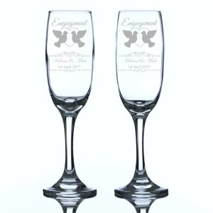 Personalised Engagement Champagne Flutes Heart and Doves