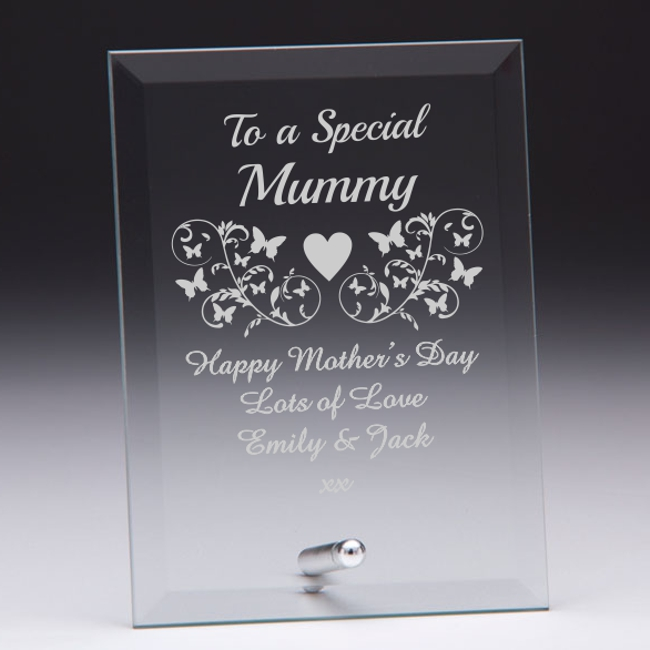 to a special mummy personalised glass plaque engrave a gift