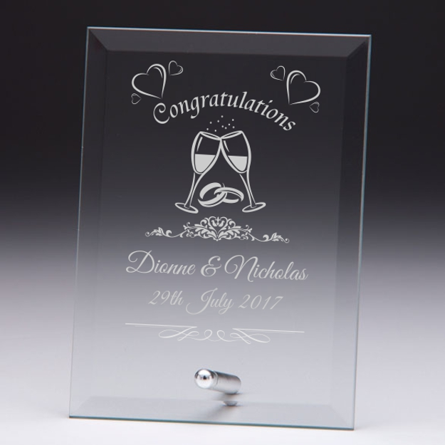 Congratulations Personalised Wedding Glass Plaque