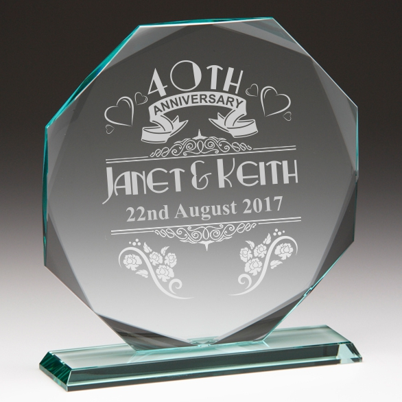 40th Anniversary Personalised Glass Plaque Engrave A Gift