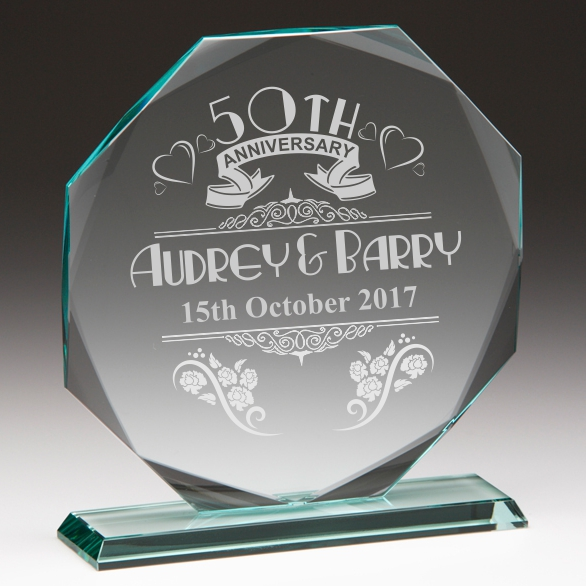 50th Anniversary Personalised Glass Plaque Engrave A Gift