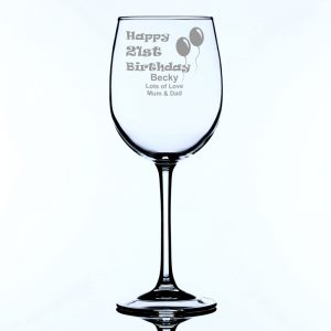 Personalised Large Wine Glass 21st Birthday Balloons