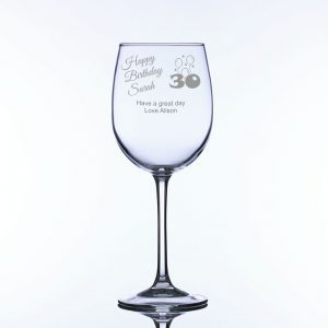 Personalised Large Wine Glass for 30th Birthday