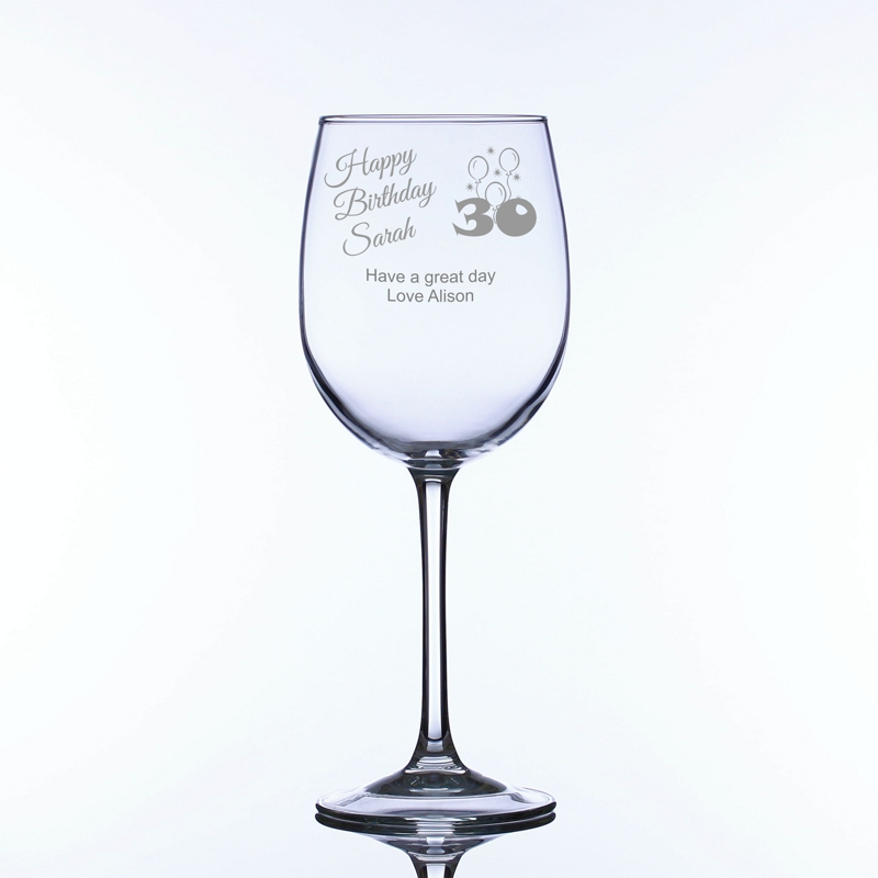 30th Birthday Personalised Large Wine Glass Engrave A Gift