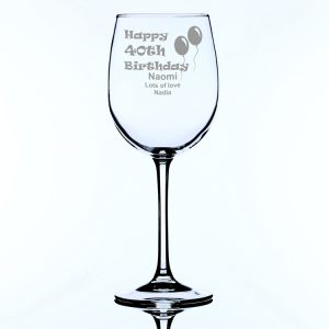 Personalised Large Wine Glass 40th Birthday Balloons