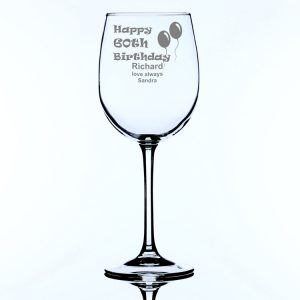 Personalised Large Wine Glass 60th Birthday Balloons
