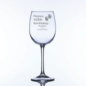Personalised Large Wine Glass 70th Birthday Balloons