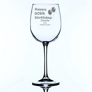 Personalised Large Wine Glass 80th Birthday Balloons