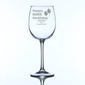 Personalised Large Wine Glass 90th Birthday Balloons