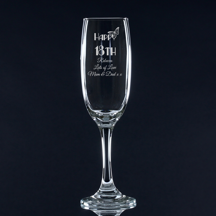 Butterfly Birthday Personalised Champagne Flute