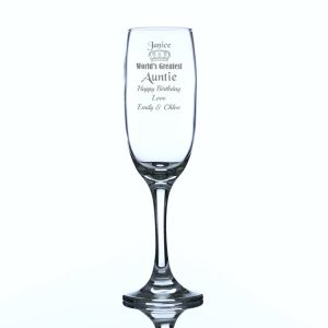 Personalised World's Greatest Auntie Champagne Flute