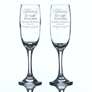 Personalised Champagne Flutes Celebrating 15 Years Together