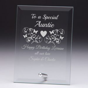 Personalised Glass Plaque To a Special Auntie Gift
