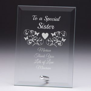 Personalised Glass Plaque To a Special Sister Gift