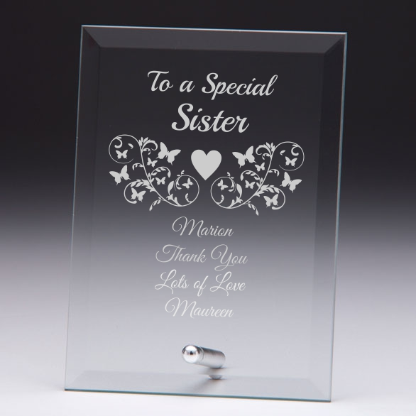 To A Special Sister Personalised Glass Plaque Engrave