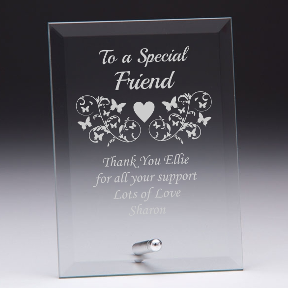 To A Special Friend Personalised Glass Plaque Engrave