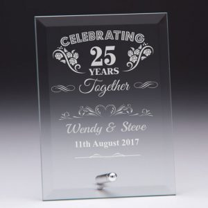 Personalised Glass Plaque Celebrating 25 Years Gift
