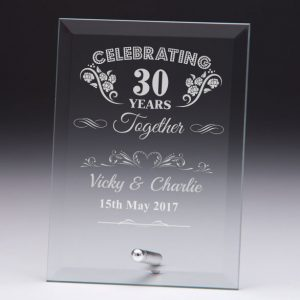Personalised Glass Plaque Celebrating 30 Years Gift