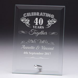Personalised Glass Plaque Celebrating 40 Years Gift