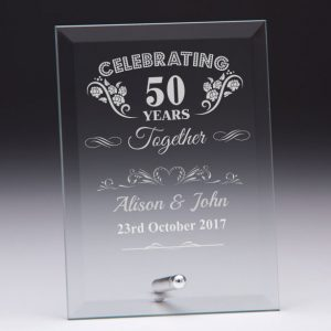 Personalised Glass Plaque Celebrating 50 Years Gift