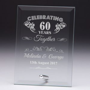 Personalised Glass Plaque Celebrating 60 Years Gift