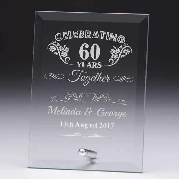 Celebrating 60 Years Personalised Glass Plaque Engrave