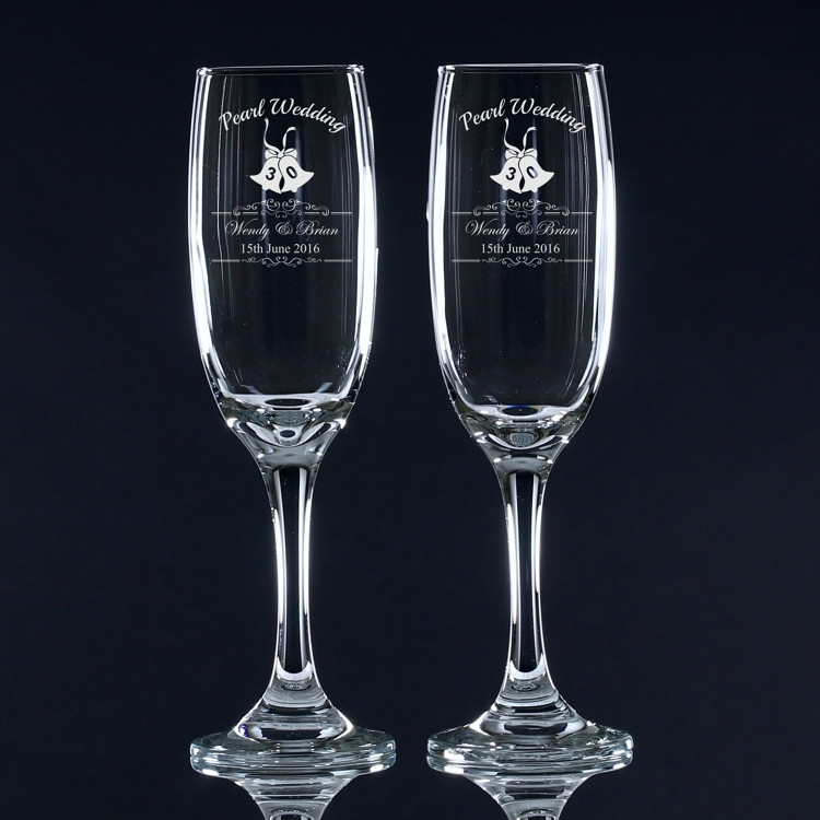 pearl wedding anniversary personalised champagne flutes