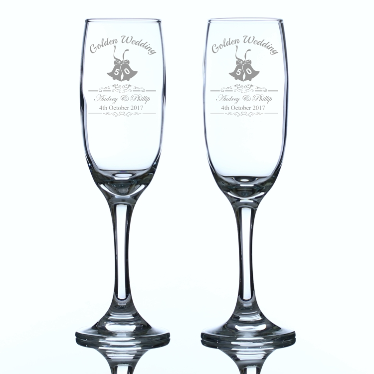 Golden Wedding Anniversary Personalised Champagne Flutes Engrave A