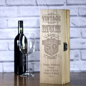 personalised vintage mum laser engraved wooden wine box with a satin inlay