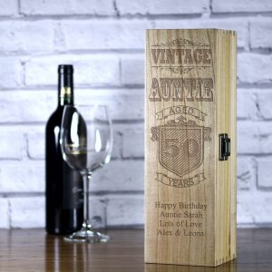 personalised vintage auntie luxury wooden wine box with a beautiful satin inlay.