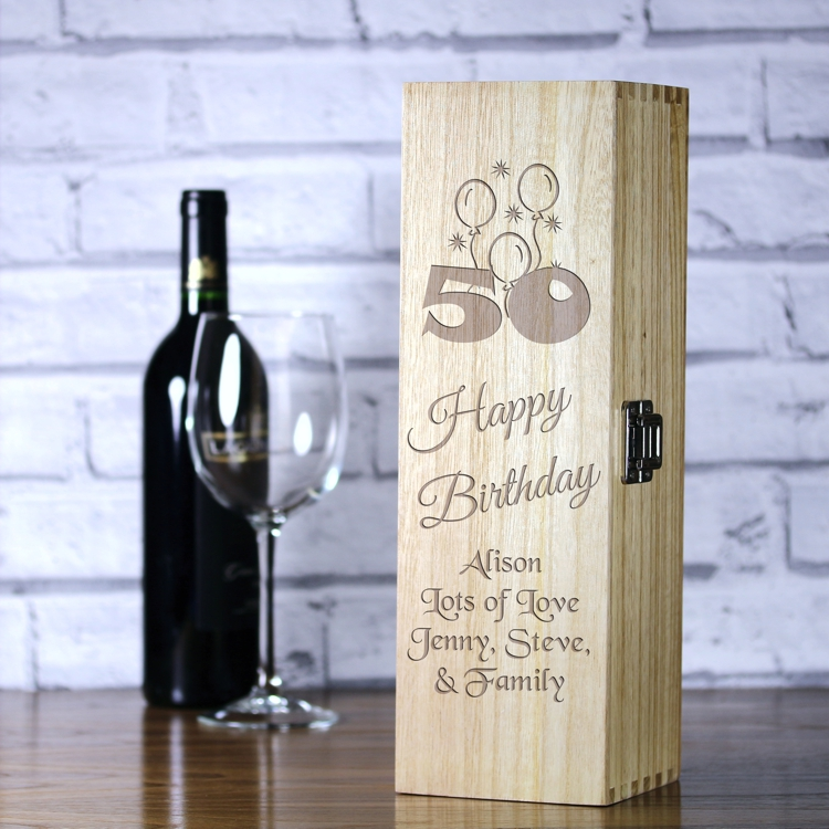 Personalised Luxury Wooden Wine Box 50th Birthday Balloons