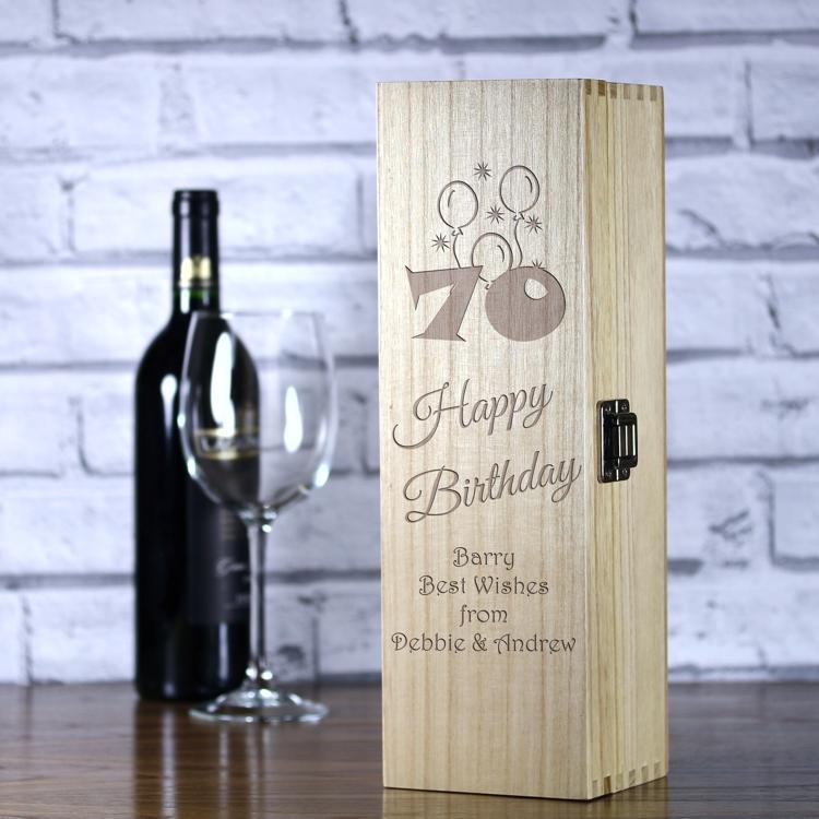 Personalised Luxury Wooden Wine Box 70th Birthday Balloons