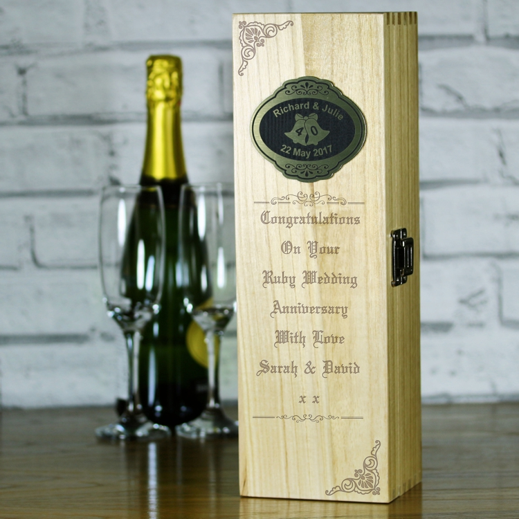 Personalised Wooden Wine Bottle Box 40th Ruby Wedding Anniversary