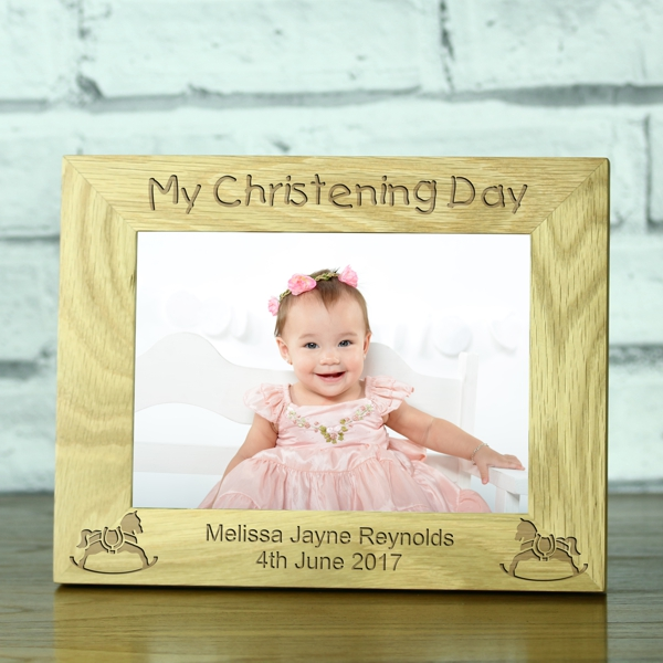 Personalised My Christening Day Solid Oak Photo Frame Engrave A Gift