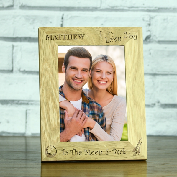 Personalised I Love You To The Moon And Back Solid Oak Photo Frame