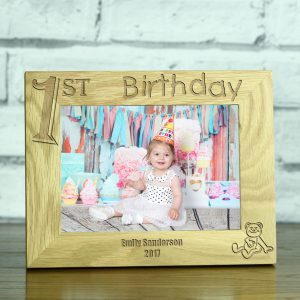 1st Birthday Personalised Solid Oak Photo Frame