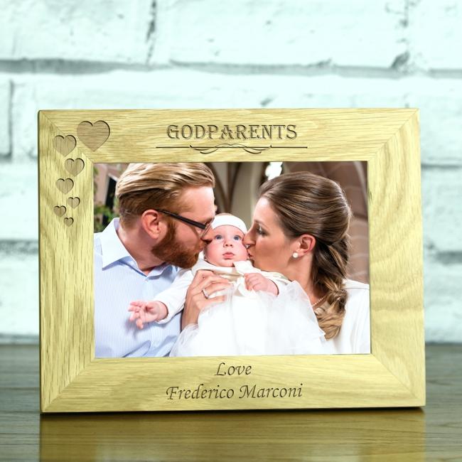 Personalised \'Godparents\' Solid Oak 5 x 7 Laser Engraved Photo Frame ...