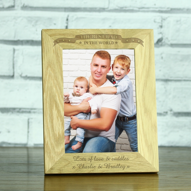 best dad in the world personalised solid oak 5 x 7 photo frame