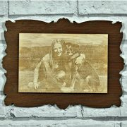 WPH96L-laser-engraved-photo-on-wood-mounted-onto-oak-vintage-frame
