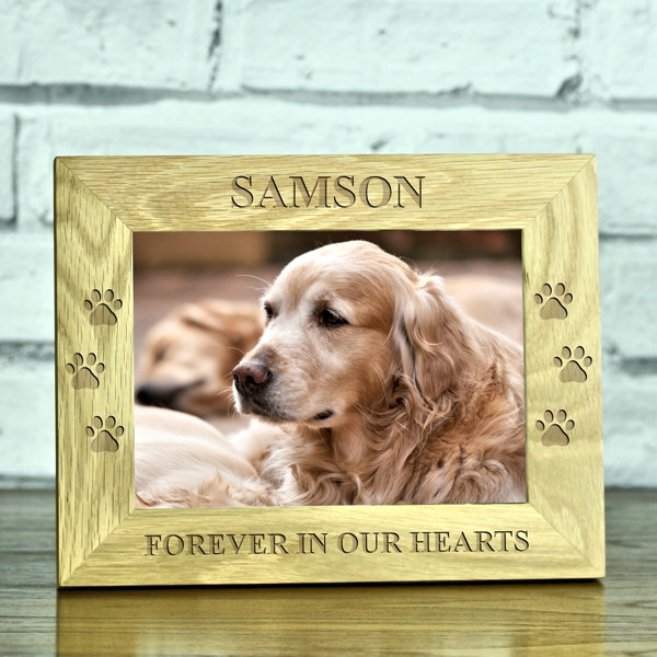 Forever In Our Hearts Doggy Memorial Solid Oak Photo Frame