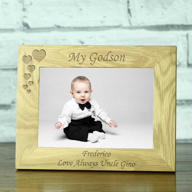 My Godson\' Personalised Solid Oak Photo Frame - Engrave a gift