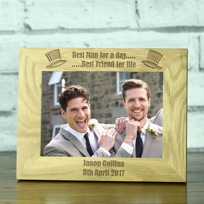 Wedding Gifts Best Man: 'Best Man For A Day' Personalised Solid Oak 5 X 7 Wedding