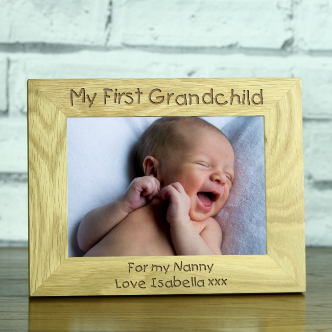 My First Grandchild Personalised Solid Oak 5 X 7 Photo